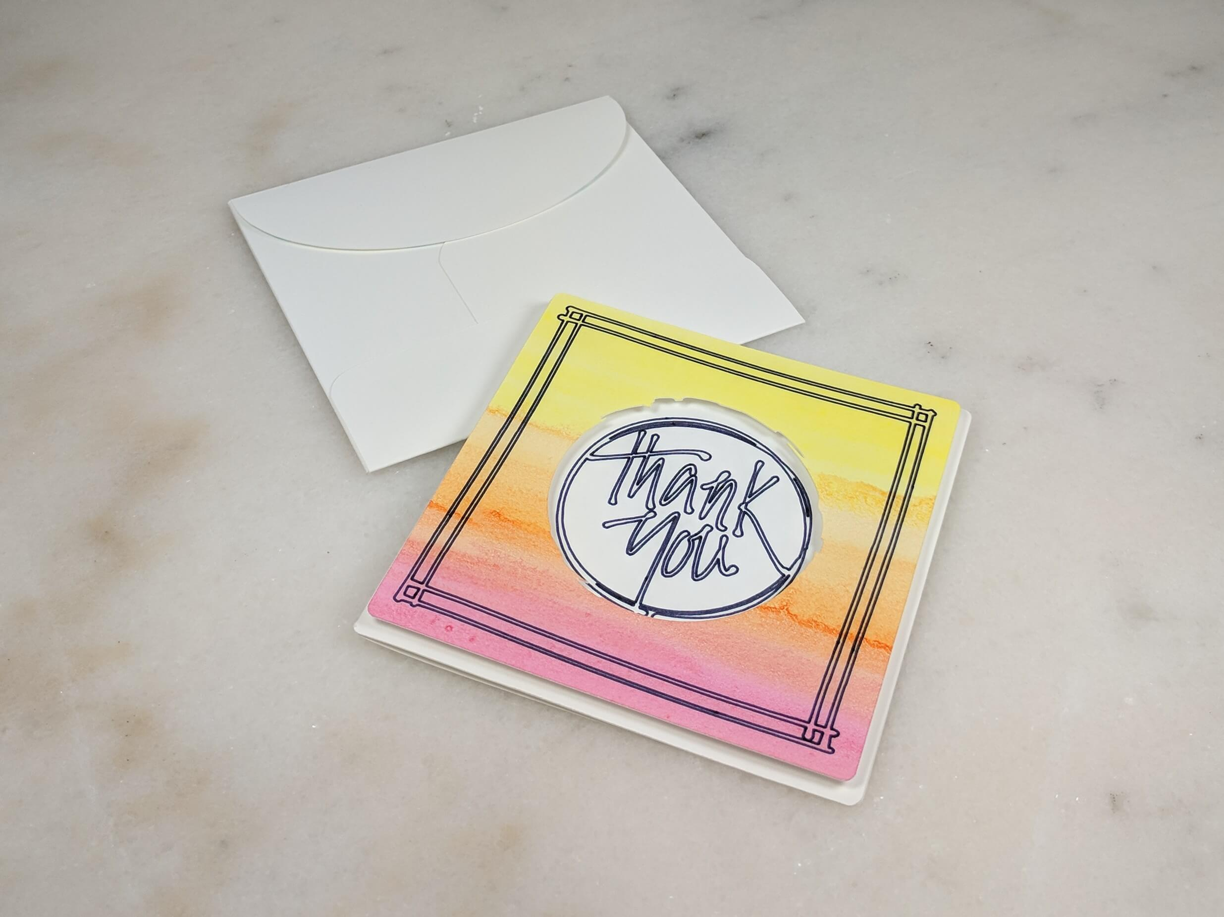 Easy Watercolor Thank You Card - Warm Tones