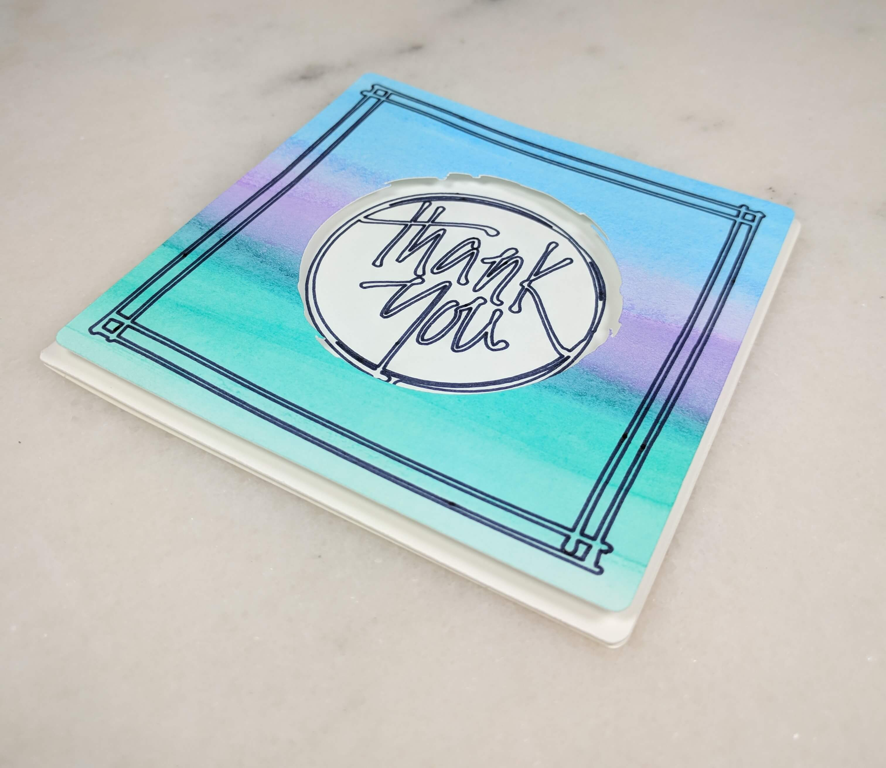 Easy Watercolor Thank You Card - Cool Tones