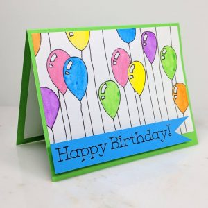 Happy Birthday Balloons Greeting Card Front View